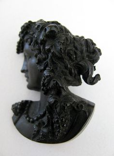 Victorian Cameo Brooch of Vulcanite by victoriansentiments on Etsy