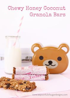 Chewy Honey Coconut Granola Bars - A Spoonful of Sugar