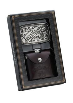 Jack Daniel's 4-Ounce Leather-Covered Flask/Rectangular Buckle Gift Set by Jack Daniels Licenced barware. $39.99. Stylish black gift box; officially licensed product. Gift set for the Jack Daniel's fan. Rectangular-shaped metal belt buckle with a Jack Daniel's banner and Old No. & Brand logo. 4-ounce stainless steel hip flask with embossed Jack Daniel's Swing logo and cartouche. Captive top is permanently attached; removable brown leather cover complete with belt loop. ...