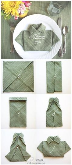Fold a Napkin shirt for Father's day DIY Tutorial Easy Party Table Decor +++ Doblar servilleta en forma de camisa para  decoracion mesa fiesta dia del padre