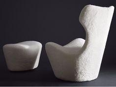 Swivel natural sheepskin armchair with footstool GRANDE PAPILIO 50° - B&B Italia