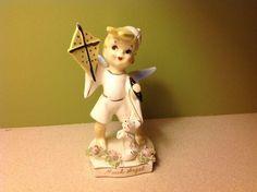 Lefton 1957 'March' birthday boy angel w/kite and dog figurine #556 (07/19/2016)