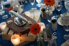 Nautical Wedding, Forked River, NJ. Latitudes on the River. Photos: Inspire Me Imagery. Center piece, cleat, gerber daisy candles, spices as favors @savoryspiceshop