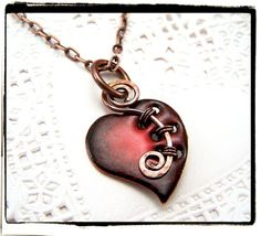 Red Enamel Glass Heart Pendant with Woven Copper Bail