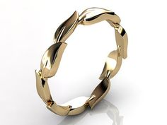 14k yellow gold unusual unique leaf and vine floral by Jewelice