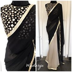 Beautiful blush pink and black color combination designer saree and black color blouse. Blouse and saree with hand embroidery gold thread and mirror work. Trendy Sarees, Stylish Sarees, Fancy Sarees, Party Wear Sarees, Stylish Dresses, Blouse Back Neck Designs, Saree Blouse Designs, Blouse Patterns, Black Saree Plain