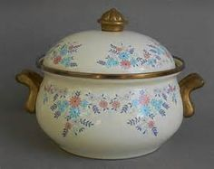 ... and Pink Flowers, Enamel Cookware, Casserole, French Country Kitchen