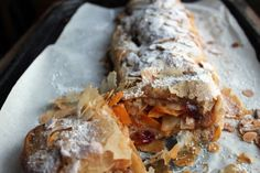 This quick Squash Apple Strudel is easy to make and tastes divine. Autumnal flavours, fruit and squash, enveloped with crispy filo pastry. Vegan Recipes Easy, Veggie Recipes, Delicious Recipes, British Desserts, Apple Strudel, Cranberry Recipes, Healthy Appetizers, Dried Cranberries, Creative Cakes