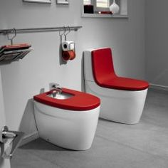Khroma toilets & basins! Love the pop of red!
