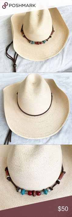 15b57b5cafb9f Atwood Hereford Low Crown Palm Cowboy Hat Atwood Hereford Low Crown Palm Cowboy  Hat 497T Beaded