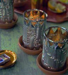 lanterns made of metal cans