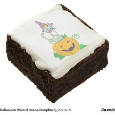 Halloween Wizard Cat on Pumpkin Square Brownie ($47) ❤ liked on Polyvore featuring home, home decor, holiday decorations, halloween home decor and cat home decor