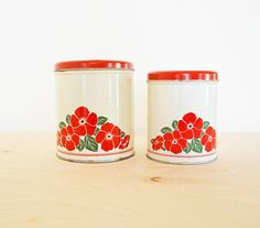 SUMMER SALE 2 Vintage Retro Kitchen Nesting Canisters by mothrasue