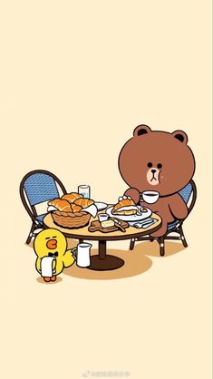 Chibi Wallpaper, Lines Wallpaper, Cute Patterns Wallpaper, Bear Wallpaper, Kawaii Wallpaper, Line Brown Bear, Kakao Friends, Cute Kawaii Animals, Anime Wolf Girl