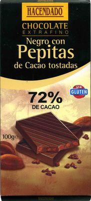 Chocolate negro con pepitas de cacao 72% cacao - Producto