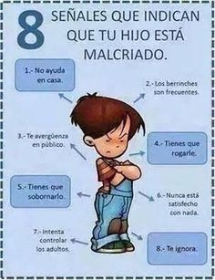 La educación empieza en casa... Education begins at home ... 8 signs that your child is spoiled.... 1. No help at home. 2. Tantrums are common. 3. You embarrassed in public. 4. You have to beg . 5. You have to bribe him . 6. Never satisfied with anything. 7. Try to control adults. 8. I ignored.