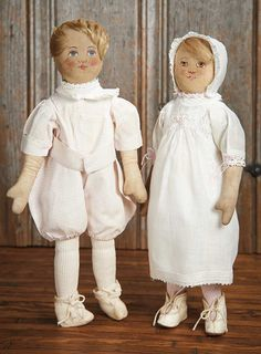 View Catalog Item - Theriault's Antique Doll Auctions Lot: 391. Pair,American Cloth Brother and Sister by Babyland Rag