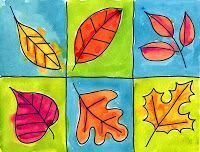 Art Projects for Kids: More Fall Leaves. Make a grid, draw a leaf in each square, and use warm and cool watercolor to create contrast.