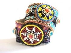 Native American Beadwork - Friendship Bracelet Studded Cuff by Lisa Jarvis