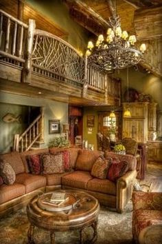 Traditional Family Room Log Cabin Decorating Design, Pictures, Remodel, Decor and Ideas - page 8 vacation home please
