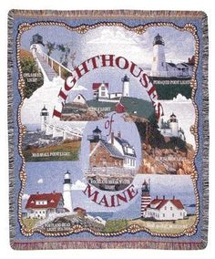 Lighthouses of Maine Tapestry Throw