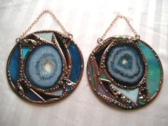 Stained Glass with Agate Teal Violet by CreativeSpiritGlass