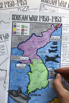 Engage students with this Korean War map activity from History Gal. As students label and color the map they will become more familiar with key geographical features and important events during the war. History Classroom, History Teachers, Teaching History, Map Worksheets, Map Activities, History Quotes, Modern History, British History, History Icon