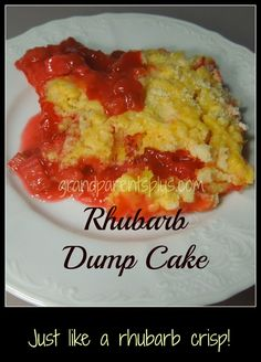 This Rhubarb Dump Cake is like the name says - you dump all the ingredients in the baking dish one by one. This turns out like a rhubarb crisp! So good!