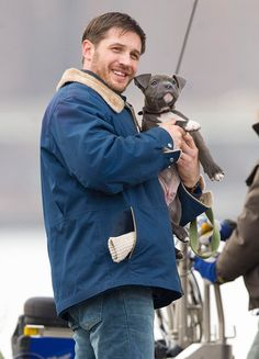 Tom hardy and an adorable pitbull... Perfect picture
