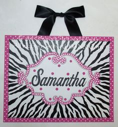 Hot Pink Zebra White Black polka dots Custom canvas wall art baby nursery kids handpainted 16 x 20