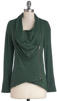 love this dark green zippered cardigan for fall!!!!!
