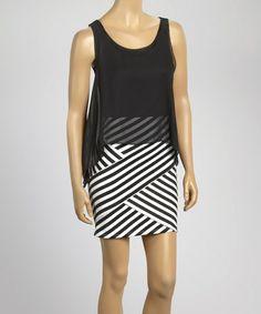 Another great find on #zulily! Black & White Stripe Layered Dress - Women #zulilyfinds