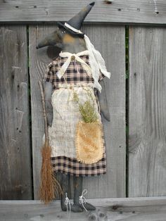 Primitive~Halloween~Witch Crow~w/ Herb...Broom Ladye Crow Doll~  #NaivePrimitive