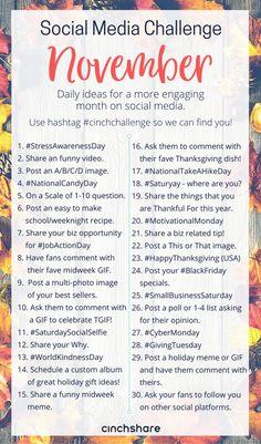 November Social Media Challenge - CinchShare Blog
