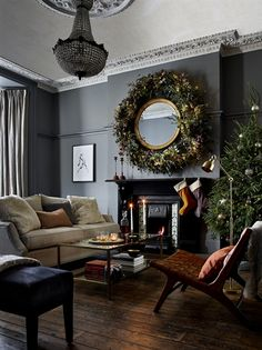 Readly - Ideal Home - 117 - House to home - create a look you'll love Days Before Christmas, Merry Christmas, Christmas Stairs, Christmas Trees, English Interior, 1930s House, Reception Rooms, Christmas Inspiration, Ideal Home