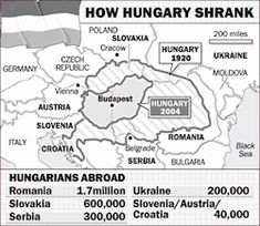"The greatest catastrophe to have befallen Hungary since the battle of Mohacs in 1526, the Treaty of Trianon in 1920 was expremely harsh on Hungary and unjustifiably one-sided. The resulting ""treaty"" lost Hungary an unprecedented 2/3 of her territory, 1/2 of her total population, the loss of all her seaports, up to 90% of her vast natural resources, industry, railways, and other infrastructure. Millions of Hungarians saw borders arbitrarily redrawn around them, virtually without plebiscites."