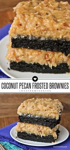 Coconut Pecan Frosted Brownies. Just like German Chocolate Cake, but on dark chocolate brownies. Great one bowl brownie recipe and the frosting is amazing!
