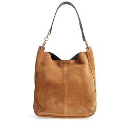 Women's Topshop Asymmetric Suede Hobo Bag ($100) via Polyvore featuring bags, handbags, shoulder bags, tan, hobo shoulder handbags, hobo handbags, white handbag, tan handbags and hobo shoulder bags