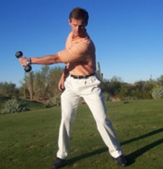 Backswing with Dumbbell - Photos courtesy of Perform Better Golf, Inc.; used with permission