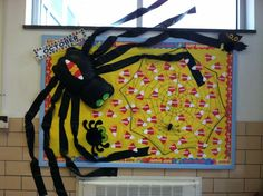 Our October Birthday Board we decided on a spider