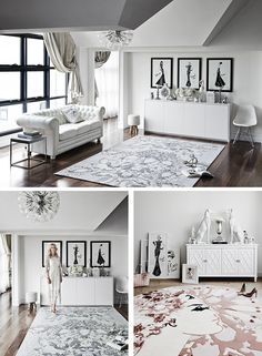 Megan Hess living room, illustrations and rugs