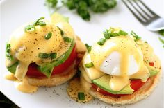 50 Healthier Sriracha Recipes — California Eggs Benedict. Gotta love red rooster!!