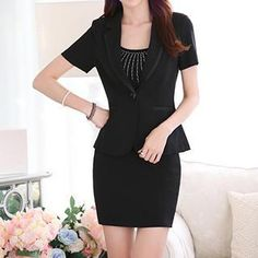 Buy 'Caroe – Set: Short-Sleeve Blazer   Pencil Skirt' with Free International Shipping at YesStyle.com. Browse and shop for thousands of Asian fashion items from China and more!