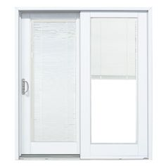 Mp Doors 72 In X 80 Woodgrain Interior Composite Prehung Left Hand Dp50 Sliding Patio Door With Blinds Between Gl White Exterior