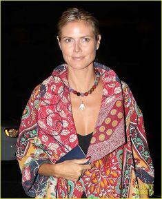 Heidi Klum wearing a Kantha quilt as she heads to the airport-Mieko Mintz circular jacket
