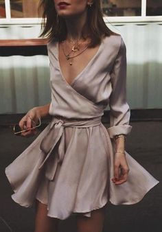 silky wrap dress.
