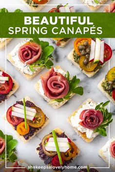 These perfectly easy canapés can be made ahead of time, are served cold, and are simply perfect for a fancy Spring or Summer celebration! With homemade pesto, olive tapenade and chive cream cheese, yo Easy Canapes, Canapes Recipes, Appetizer Recipes, Canapes Ideas, Recipes Dinner, Appetizer Plates, Easter Appetizers, Fancy Appetizers, Seafood Appetizers