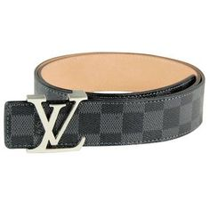 48d83e89ce75 Stylish Louis Vuitton Mens Graphitte Damier Leather Lv Letters Buckle Belt  Louis Vuitton Belt