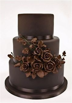 3-tiered Chocolate Wedding Cake | Fall Wedding Cakes | Autumn Wedding Cakes