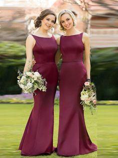 Mermaid Burgundy Long Evening Dress Party Elegant Bridesmaid Dress – FashionDressGallery